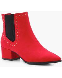 Boohoo - Studded Block Heel Ankle Boots - Lyst
