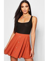 Boohoo - Basic Button Front Ribbed Skater Mini Skirt - Lyst f19b67a89