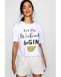 Boohoo - 'let The Weekend Be Gin' Pj Short Set - Lyst