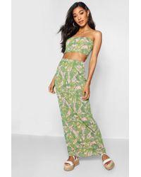 Boohoo - Palm Print Jersey Maxi Skirt - Lyst