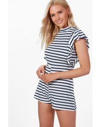 Boohoo - Anna Striped Frill Sleeve Playsuit - Lyst