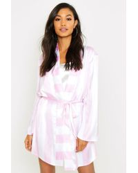 Boohoo - Wide Candy Stripe Robe - Lyst
