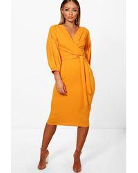 Boohoo - Nina Off The Shoulder Wrap Midi Bodycon Dress - Lyst