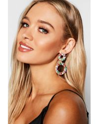 Boohoo - Statement Diamante Double Circle Earrings - Lyst
