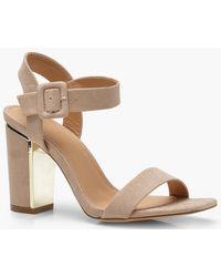 9ec2218f9611 Lyst - Boohoo Clara Wide Fit Embellished Block Heel 2 Parts in Black