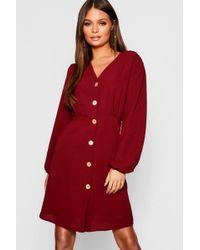 Lyst - Boohoo Scuba Strappy Pleated Skater Dress in Red 85da78156