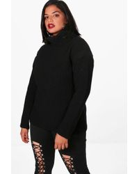 Boohoo | Plus Kate Tape Detail Roll Neck Jumper | Lyst