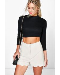 Boohoo - Scalloped Hem High Waisted Shorts - Lyst