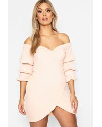 Boohoo - Plus Off The Shoulder Wrap Bodycon Dress - Lyst