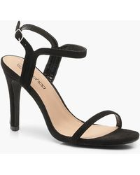 a557ffc29942 Boohoo Extra Wide Fit Croc 2 Part Heels in Black - Lyst