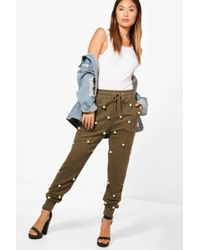 Boohoo - Anna Pearl Embellished Luxe Swear Joggers - Lyst