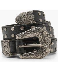 Boohoo - Plus Isobel Western Studded Buckle Belt - Lyst