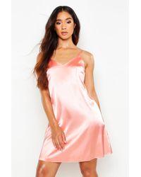 Boohoo - Satin Slip Dress - Lyst