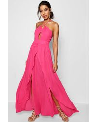 Boohoo - Rose Split Front Halterneck Maxi Dress - Lyst
