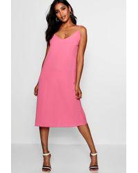 Boohoo - Jasmine Plunge Front Cami Midi Dress - Lyst