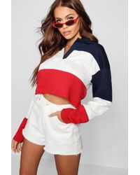 Boohoo - Colour Block Rugby Crop Top - Lyst