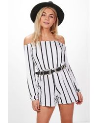 Boohoo - Striped Off The Shoulder Playsuit - Lyst