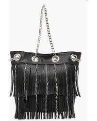 Boohoo - Fringe & Chain Duffle Day Bag - Lyst