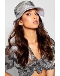 Boohoo - Silver Metallic Bucket Hat - Lyst
