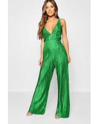 572eaf6251 Boohoo Plunge Plisse Stripe Culotte Jumpsuit in Black - Lyst