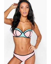 Boohoo - Underwired Colour Block Bandeau Bikini - Lyst