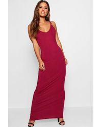 Boohoo - Petite Strappy Basic Maxi Dress - Lyst