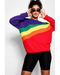 Boohoo - Rainbow Stripe Oversized Jumper - Lyst