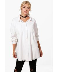 Boohoo - Raw Edge Oversized Cord Shirt - Lyst