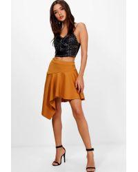 Boohoo Drop Peplum Vinyl Mini Skirt in Red - Lyst 46412a1ef