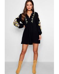 Boohoo - Petite Sophie Heavily Embroidered Smock Dress - Lyst