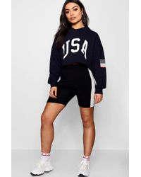 Boohoo - Usa Cropped Sweat Top - Lyst