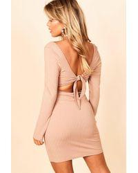 Boohoo - Jumbo Rib Square Neck Tie Back Mini Dress - Lyst