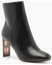 Boohoo - Tortoise Shell Heel Shoe Boots - Lyst