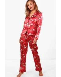 Boohoo - Vivian Christmas Contrast Piping Trouser Set - Lyst