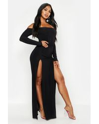 0ba15145f6c4 Boohoo Slinky Plunge Kimono Sleeve Maxi Dress in Black - Lyst