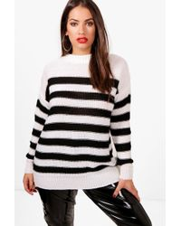 Boohoo Plus Chunky Stripe Knitted Jumper Excellent Online GizAiTZK