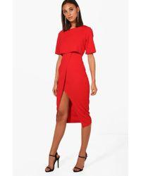 df2a3e10a09 Boohoo - Layered Wrap Wiggle Midi Dress - Lyst