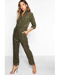 Boohoo - Suedette Utility Cargo Jumpsuit - Lyst
