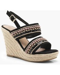 Boohoo - Beaded Strap Espadrille Wedges - Lyst