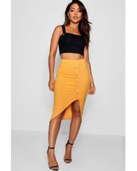 Boohoo - Rouched Ribbed Mock Horn Button Midi Skirt - Lyst