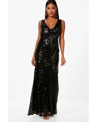 Boohoo   Clare Sequin Plunge Fishtail Maxi Dress   Lyst