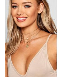 Boohoo - Coin & Wishbone Layered Necklace - Lyst