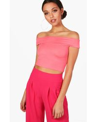 Boohoo - Lilly Off The Shoulder Crop Top - Lyst