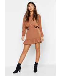 Boohoo - Woven Utility Mock Horn Detail Shirt + Skirt Co-ord - Lyst