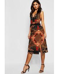 Boohoo - Chain Print Buckle Pinafore Midi Dress - Lyst