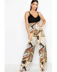 10ac00331eb3 Boohoo Satin Paperbag Utility Wide Leg Pants - Lyst