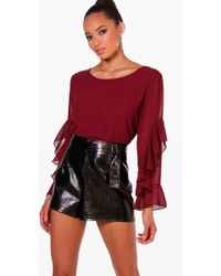 Boohoo Ruffle Sleeve Bow Back Blouse Discount Free Shipping Newest Cheap Price Where Can You Find LBUmE
