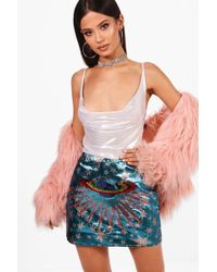 Boohoo - Katie Woven Star & Planet Sequin Embroidered Skirt - Lyst