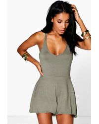 c2709e6d54 Boohoo Bright Strappy Swing Playsuit in Blue - Lyst