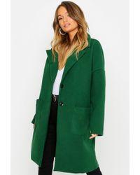 Boohoo - Pocket Detail Wool Look Coat - Lyst